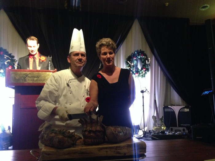 karen poses with chef chafe